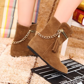 Metal Chain Zippered Round Toe Booties