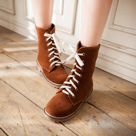 Suede Round Toe Lace-Up Moto Boots