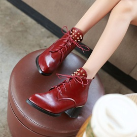 Rivets Lace Up Chunky Heel Booties
