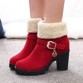 Round Toe Side Zippered Chunky Heel Martin Boots