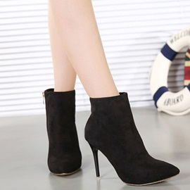 Solid Color Side-Zipper Pointed Toe Booties