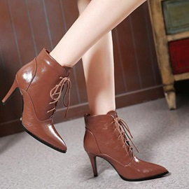 Pointed Toe Lace-Up Women's Booties