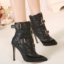 Black Pointed Toe Buckles Booties