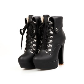 Rivets Round Toe Lace-Up Booties