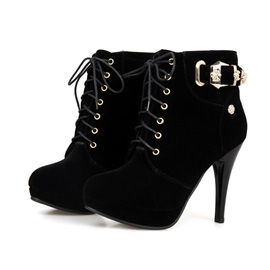 Solid Color Buckles Lace-Up Booties