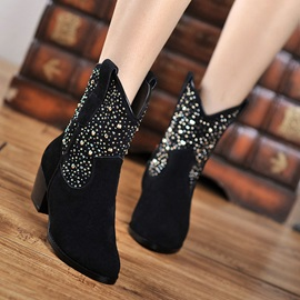 Rhinestone Pointed Toe Zippered Booties