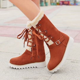 Suede Round Toe Snow Boots