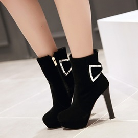 Bowtie Round Toe Side Zipper Booties