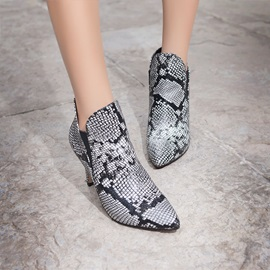 Snakeskin Effect Pointed Toe Booties
