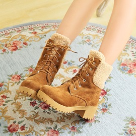 Suede Chunky Heel Round Toe Lace-Up Martin Boots