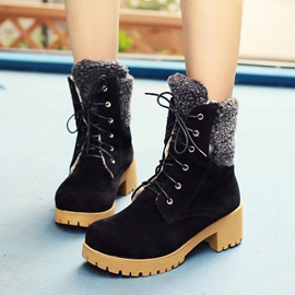 Buy Suede Chunky Heel Round Toe Lace-Up Martin Boots