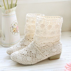 Crochet Hollow Round Toe Slip-On Booties