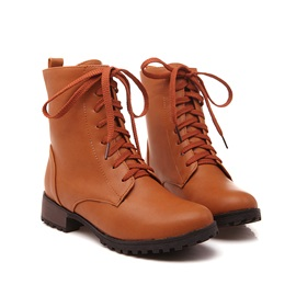 Stars Printed Round Toe Lace-Up Martin Boots