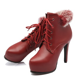 Furry Lace-Up Platform Women's Booties