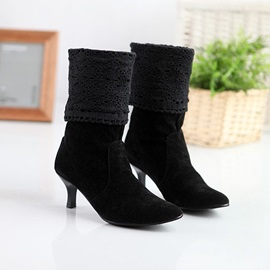 Suede Crochet Pointed Toe Booties