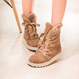 Purfle Suede Round Toe Lace-Up Booties