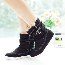 Solid Color Ruched Canvas Booties