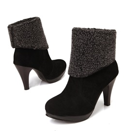 Suede Fold Over Round Toe Ankle Boots