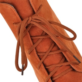 Suede Elevator Heel Lace-Up Booties