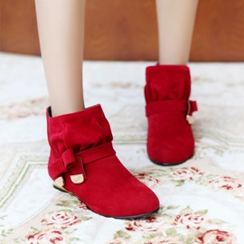 Suede Round Toe Ruched Booties