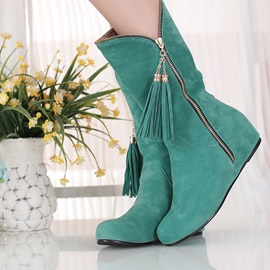 Suede Tassels Zippered Elevator Heel Booties
