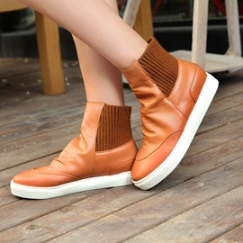 PU Slip-On Flat Booties