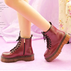 Round Toe Lace-Up Zippered Martin Boots