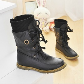 Pu Patchwork Lace-Up Moto Boots with Socks