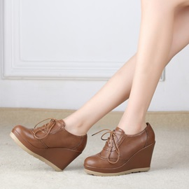 Solid Color Pu Lace-Up Wedge Boots