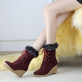 Suede Round Toe Lace-Up Wedge Boots
