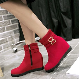 Round Toe Zippered Wedge Boots