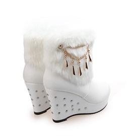 Faux Fur Studded Round Toe Wedge Boots