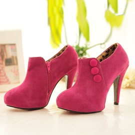 Suede Zippered Round Toe Ankle Boots