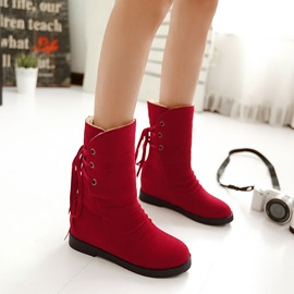 Solid Color Elevator Heel Lace-Up Back Booties