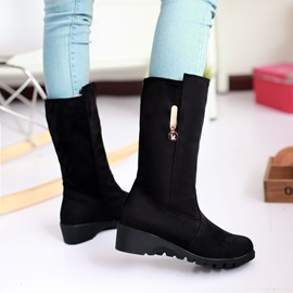 Solid Color Suede Slip-On Moto Boots
