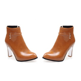 PU Side-Zip Women's Ankle Boots