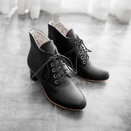 Solid Color Lace-Up Front Chunky Heel Booties