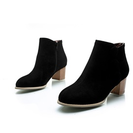 Suede Chunky Heel Ankle Boots