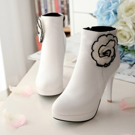 Solid Color Applique Zippered Booties