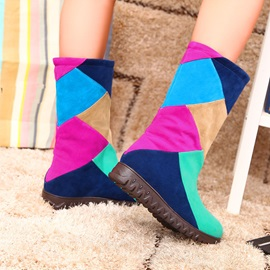 Color Block Round Toe Booties