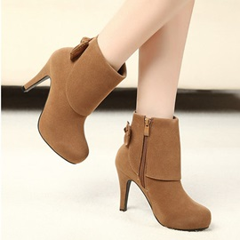 Bowtie Suede Side-Zipper Booties