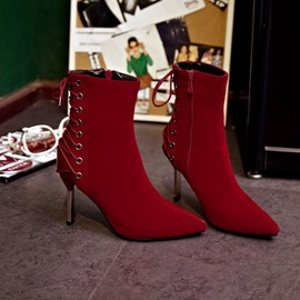 Suede Pointed Toe Side-Zip Ankle Boots