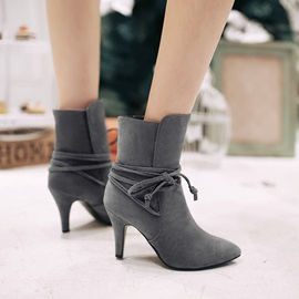 Solid Color Lace-Up Back Suede Booties