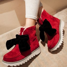 Bowtie Suede Wedge Sole Lace-Up Booties