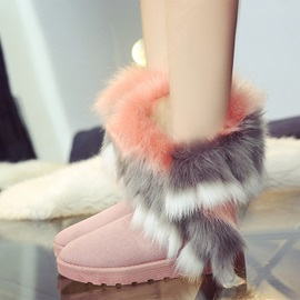 Faux Fur Suede Slip-On Snow Boots