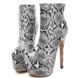 Leopard Printed Side Zipper Platform Booties