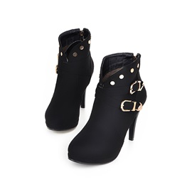 Rivets Back-Zip Platform Booties
