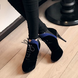 Color Block Lace-Up Platform Ankle Boots