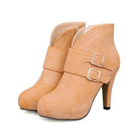 PU Buckles Zippered Ankle Boots