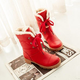 PU Square Heel Lace-Up Booties